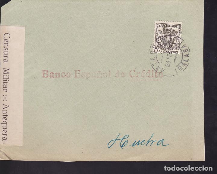 CM2-45- GUERRA CIVIL. FRONTAL ANTEQUERA (MÁLAGA) 1937. FAJA CENSURA Y FISCAL (Sellos - España - Guerra Civil - De 1.936 a 1.939 - Cartas)