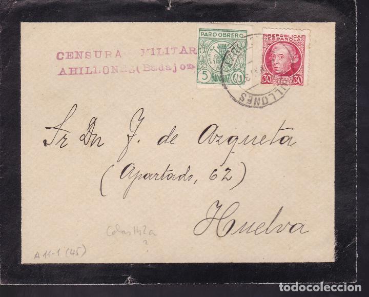 CM2-47- GUERRA CIVIL. FRONTAL LUTO AHILLONES (BADAJOZ)1937. CENSURA Y LOCAL (Sellos - España - Guerra Civil - De 1.936 a 1.939 - Cartas)