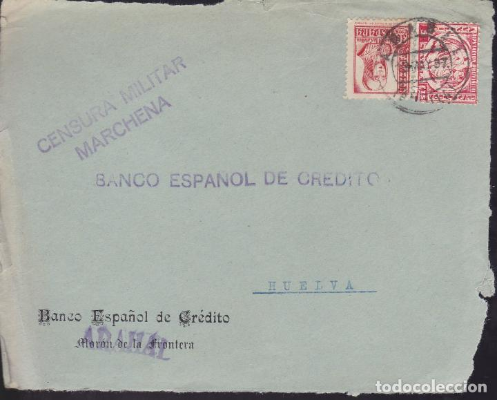 CM2-47- GUERRA CIVIL. FRONTAL ARAHAL (SEVILLA) 1937. CENSURA MARCHENA Y LOCAL (Sellos - España - Guerra Civil - De 1.936 a 1.939 - Cartas)