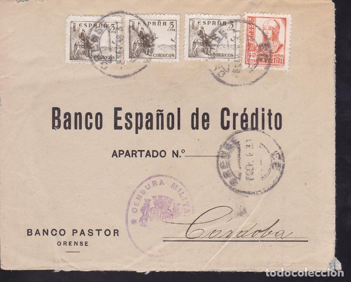 CM2-55- GUERRA CIVIL. CARTA ORENSE 1938. AUXILIO INVIERNO Y CENSURA (Sellos - España - Guerra Civil - De 1.936 a 1.939 - Cartas)