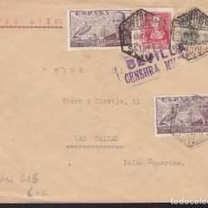 Sellos: CM2-59- GUERRA CIVIL. CARTA SEVILLA- LAS PALMAS 1939. LOCAL Y CENSURA . Lote 168271228