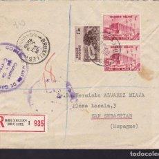 Sellos: CM2-59- GUERRA CIVIL. CARTA BRUSELAS-SAN SEBASTIAN 1939. FAJA CIERRE Y CENSURA . Lote 168271340