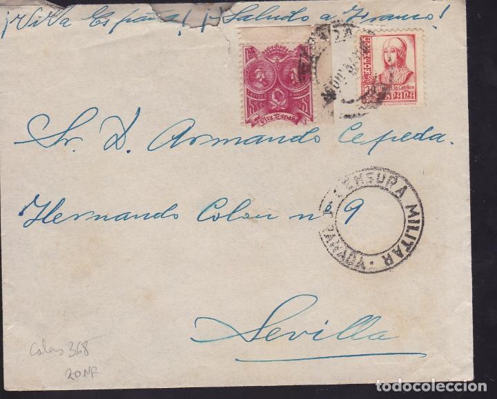 CM2-60- GUERRA CIVIL. CARTA GRANADA 1937.LOCAL Y CENSURA (Sellos - España - Guerra Civil - De 1.936 a 1.939 - Cartas)