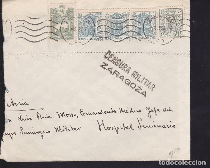 CM2-63- GUERRA CIVIL.CARTA ZARAGOZA 1937. CENSURA . VIÑETA Y FRANQUEO FISCALES (Sellos - España - Guerra Civil - De 1.936 a 1.939 - Cartas)