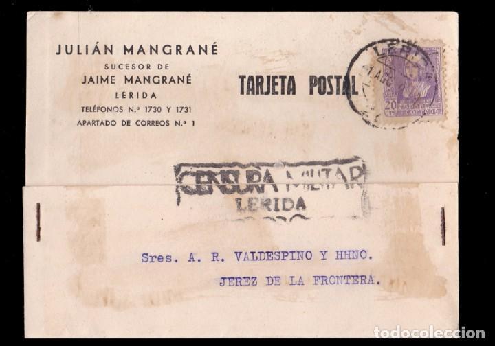 *** TARJETA LÉRIDA- JEREZ DE LA FRONTERA 1939. CENSURA MILITAR LÉRIDA. *** (Sellos - España - Guerra Civil - De 1.936 a 1.939 - Cartas)