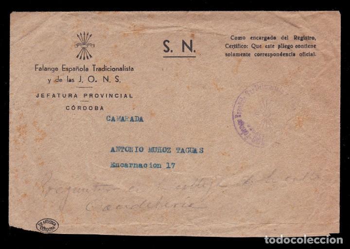 *** CARTA DE FALANGE ESPAÑOLA Y J.O.N.S. JEFATURA PROVINCIAL DE CÓRDOBA. FRANQUICIA DE LA MISMA *** (Sellos - España - Guerra Civil - De 1.936 a 1.939 - Cartas)