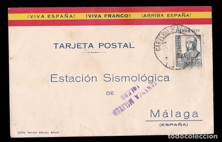 ** TARJETA TOLEDO-MÁLAGA. ESTACIÓN SISMOLÓGICA Y OBSERVATORIO GEOGRÁFICO. CENSURA MILITAR TOLEDO ** (Sellos - España - Guerra Civil - De 1.936 a 1.939 - Cartas)
