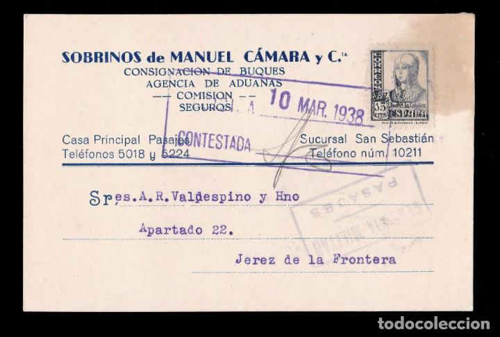 *** TARJETA SAN SEBASTIÁN-JEREZ DE LA FRONTERA 1938. CENSURA MILITAR PASAJES. *** (Sellos - España - Guerra Civil - De 1.936 a 1.939 - Cartas)