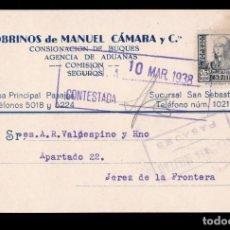 Sellos: *** TARJETA SAN SEBASTIÁN-JEREZ DE LA FRONTERA 1938. CENSURA MILITAR PASAJES. ***. Lote 168293072