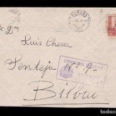 Sellos: *** CARTA BURGOS-BILBAO 1937. CENSURA MILITAR BURGOS ***. Lote 168295844