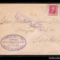 Sellos: *** CARTA FUENTES DE ANDALUCIA-SEVILLA 1938. CENSURA MILITAR ÉCIJA. ***. Lote 168296388