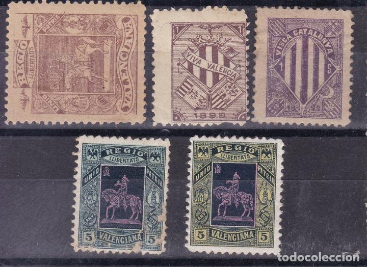 BB6- LOTE 5 VIÑETAS VALENCIANISTAS (4) ** Y CATALANISTA (1)* (Sellos - España - Guerra Civil - Viñetas - Nuevos)
