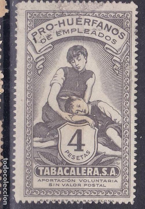 BB6- PARAFISCALES PRO HUÉRFANOS EMPLEADOS TABACALERA 4 PTAS . USADO (Sellos - España - Guerra Civil - Viñetas - Nuevos)