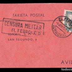 Sellos: *** TARJETA EL FERROL-ÁVILA 1937. CENSURA MILITAR EL FERROL + 15 CTS JUNTA DE DEFENSA ***. Lote 168996456