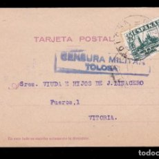 Sellos: *** TARJETA TOLOSA-VITORIA 1937. CENSURA MILITAR TOLOSA (AZUL) + 15 CTS JUNTA DE DEFENSA ***. Lote 168998736