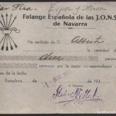 Sellos: PAMPLONA, 10 PTAS, CUOTA, FALANGE ESPAÑOLA J.O.N.S. DE NAVARRA, VER FOTO. Lote 169083596