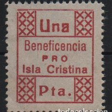 Sellos: ISLA CRISTINA,-HUELVA-- 1 PTA, --BENEFICENCIA-- VER FOTO. Lote 169085804