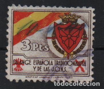 NAVARRA, 3 PTAS, FALANGE ESPAÑOLA DE J.O.N.S. VER FOTO (Sellos - España - Guerra Civil - De 1.936 a 1.939 - Usados)
