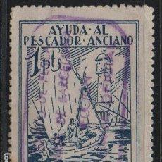 Sellos: BARCELONA, 1 PTA, -AYUDA AL PESCADOR ANCIANO- VER FOTO. Lote 169086488