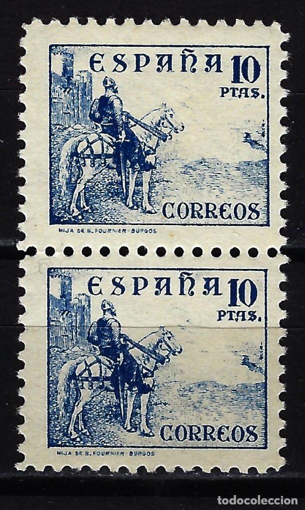 ESPAÑA 1937-1940 CID 10 PTAS. - EDIFIL 830 - MNH** NUEVOS SIN FIJASELLOS CON GOMA - BLOQUE DE 2 (Sellos - España - Guerra Civil - De 1.936 a 1.939 - Nuevos)