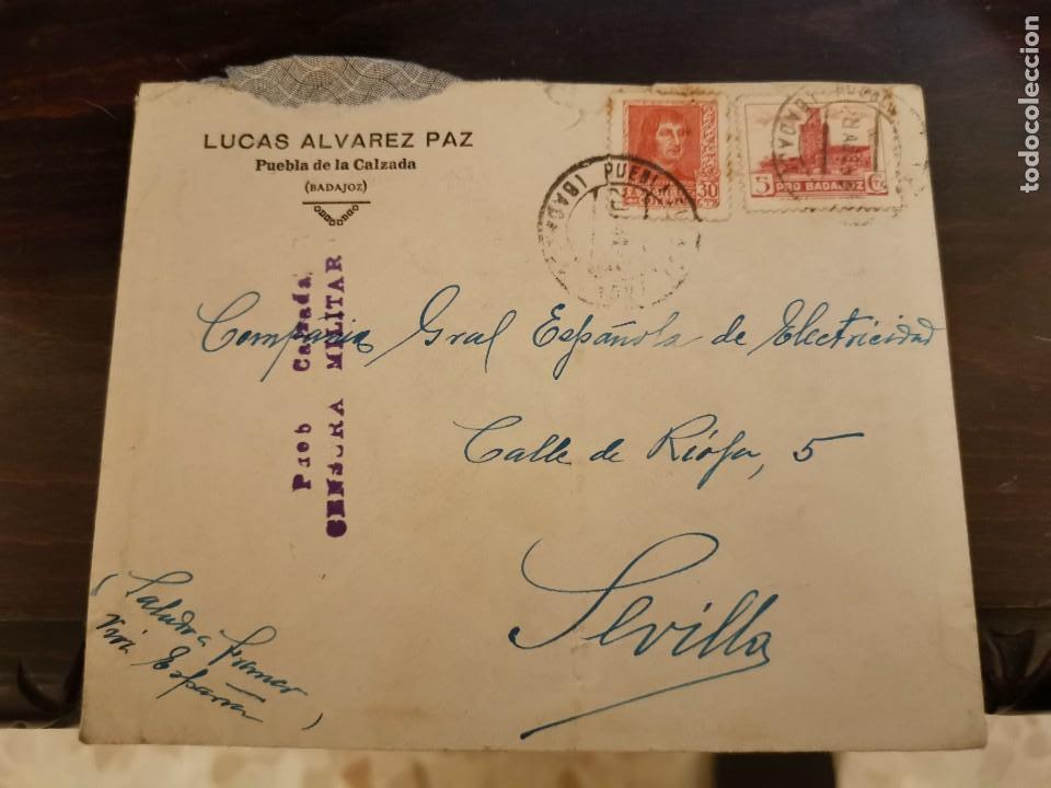PUEBLA DE LA CALZADA, BADAJOZ, SOBRE CIRCULADO A SEVILLA, CENSURA MILITAR, MUY RARA (Sellos - España - Guerra Civil - De 1.936 a 1.939 - Cartas)