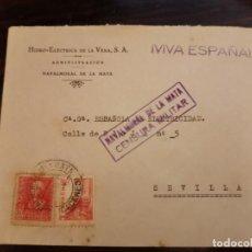 Sellos: NAVALMORAL DE LA MATA, CACERES , SOBRE CIRCULADO A SEVILLA, CENSURA MILITAR, MUY RARA. Lote 169128364