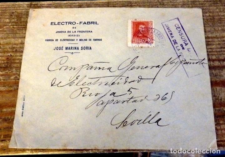 CENSURA MILITAR Nº 1 DE JIMENA DE LA FRONTERA (CADIZ) EN SOBRE CIRCULADO EN 1938 (Sellos - España - Guerra Civil - De 1.936 a 1.939 - Cartas)