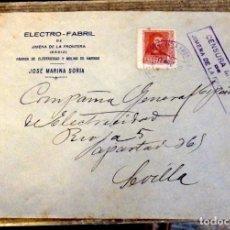 Sellos: CENSURA MILITAR Nº 1 DE JIMENA DE LA FRONTERA (CADIZ) EN SOBRE CIRCULADO EN 1938. Lote 169178428