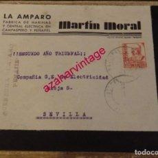Sellos: 1938, GUERRA CIVIL,SOBRE CIRCULADO DESDE PEÑAFIEL A SEVILLA, CENSURA MILITAR, FABRICA DE HARINAS. Lote 169195200