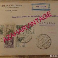 Sellos: TAUSTE, ZARAGOZA, 1939, SOBRE CIRCULADO A SEVILLA, CENSURA MILITAR, MUY RARO. Lote 169196660
