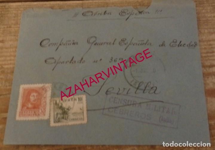 CEBREROS, AVILA, 1939, SOBRE CIRCULADO A SEVILLA, CENSURA MILITAR (Sellos - España - Guerra Civil - De 1.936 a 1.939 - Cartas)