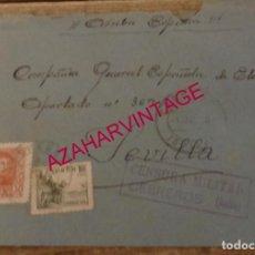 Sellos: CEBREROS, AVILA, 1939, SOBRE CIRCULADO A SEVILLA, CENSURA MILITAR. Lote 169197120