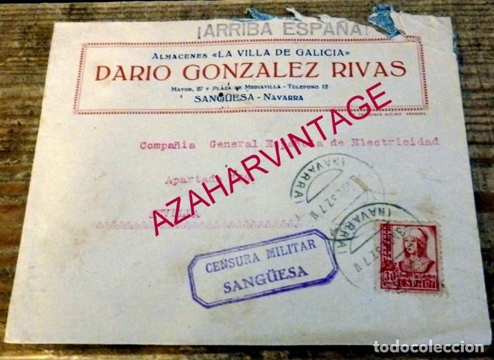 SANGUESA, 1937, SOBRE CIRCULADO A SEVILLA, CENSURA MILITAR (Sellos - España - Guerra Civil - De 1.936 a 1.939 - Cartas)