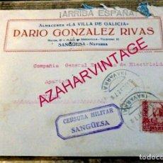 Sellos: SANGUESA, 1937, SOBRE CIRCULADO A SEVILLA, CENSURA MILITAR. Lote 169207748