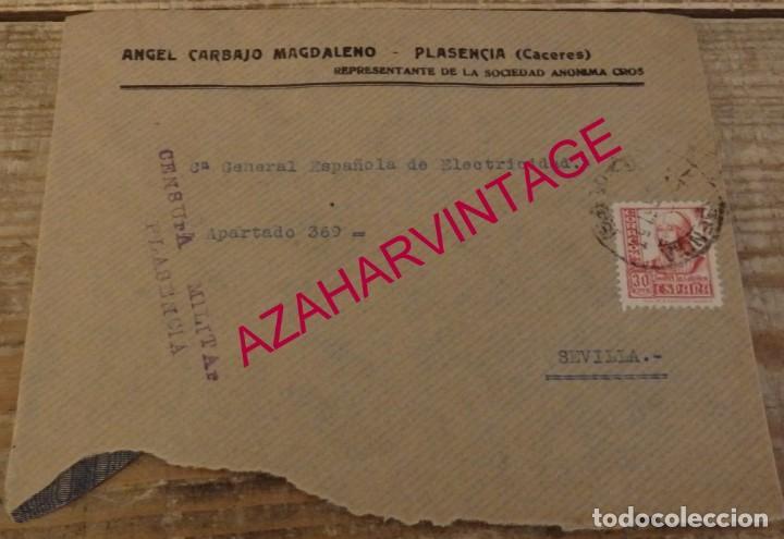 PLASENCIA, CACERES, 1937, SOBRE CIRCULADO A SEVILLA, CENSURA MILITAR (Sellos - España - Guerra Civil - De 1.936 a 1.939 - Cartas)