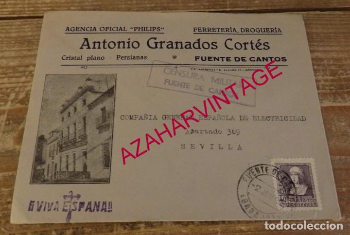 FUENTE DE CANTOS, BADAJOZ, 1938,SOBRE CIRCULADO FERRETERIA ANTONIO GRANADOS, CENSURA MILITAR, RARA (Sellos - España - Guerra Civil - De 1.936 a 1.939 - Cartas)
