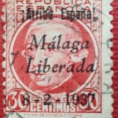 Sellos: EMISIONES PATRIÓTICAS, MÁLAGA. SELLOS SOBRECARGADOS, 1937. 30 CTS (Nº 18 EDIFIL). LOTE DE 10 SELLOS. Lote 169242596