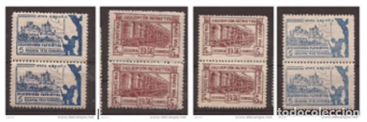 1936 SEGOVIA SUSCRIPCIÓN PATRIÓTICA - DENTADO 10 3/4 - 1 Y 1A / 2A Y 2B PAREJAS (Sellos - España - Guerra Civil - De 1.936 a 1.939 - Nuevos)