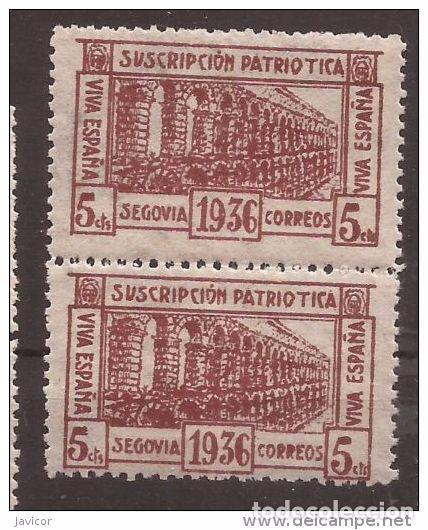 Sellos: 1936 SEGOVIA Suscripción patriótica - dentado 10 3/4 - 1 y 1a / 2a y 2b PAREJAS - Foto 2 - 169275500