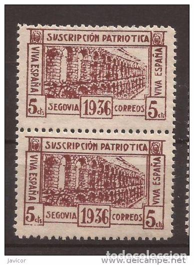 Sellos: 1936 SEGOVIA Suscripción patriótica - dentado 10 3/4 - 1 y 1a / 2a y 2b PAREJAS - Foto 3 - 169275500