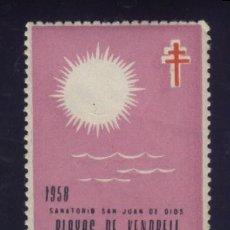 Sellos: S-4094- TARRAGONA. SANATORIO SAN JUAN DE DIOS PLAYAS DE VENDRELL. PRO TUBERCULOSOS. CRUZ LORENA 1958. Lote 169317052