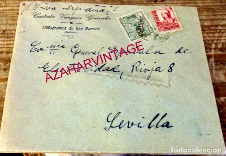CARTA DE VILLAFRANCA DE LOS BARROS A SEVILLA, CENSURA MILITAR, MEMBRETE CUSTODIO VAZQUEZ (Sellos - España - Guerra Civil - De 1.936 a 1.939 - Cartas)