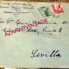 Sellos: CARTA DE VILLAFRANCA DE LOS BARROS A SEVILLA, CENSURA MILITAR, MEMBRETE CUSTODIO VAZQUEZ. Lote 169318328