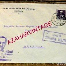 Sellos: SOBRE JUAN MASCARÓS VILLALONGA HUELVA. CENSURA MILITAR. 1939 GUERRA CIVIL.. Lote 169323096