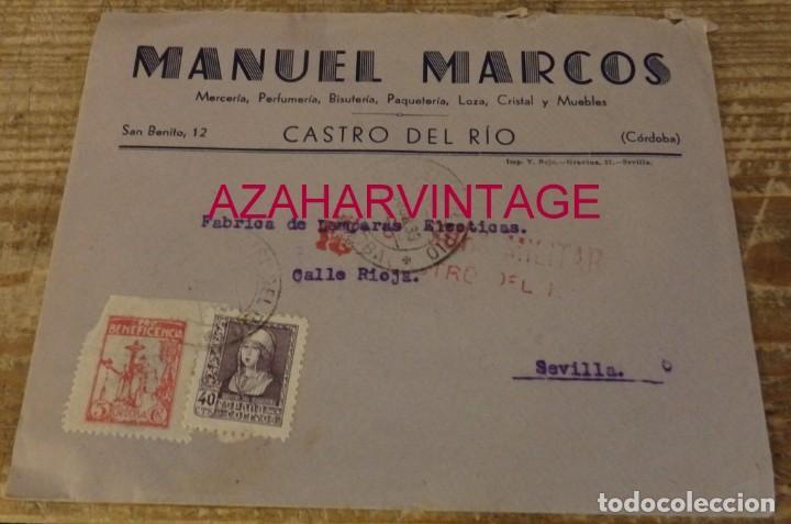 CASTRO DEL RIO, CORDOBA, 1939, SOBRE CIRCULADO A SEVILLA, CENSURA MILITAR, MUY RARO (Sellos - España - Guerra Civil - De 1.936 a 1.939 - Cartas)