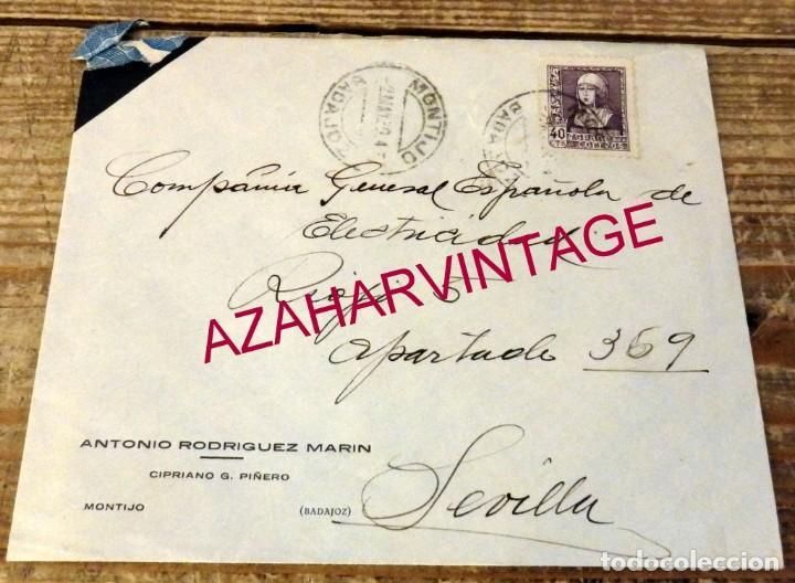 MONTIJO, BADAJOZ, 1939, SOBRE CIRCULADO A SEVILLA, MUY RARA CENSURA MILITAR, VER IMAGENES (Sellos - España - Guerra Civil - De 1.936 a 1.939 - Cartas)