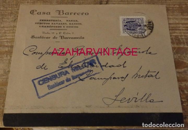 SANLUCAR DE BARRAMEDA, SOBRE CIRCULADO A SEVILLA, CENSURA MILITAR AZUL (Sellos - España - Guerra Civil - De 1.936 a 1.939 - Cartas)