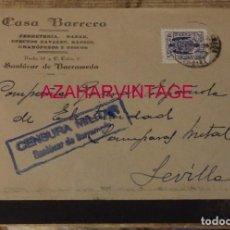 Sellos: SANLUCAR DE BARRAMEDA, SOBRE CIRCULADO A SEVILLA, CENSURA MILITAR AZUL. Lote 169329388