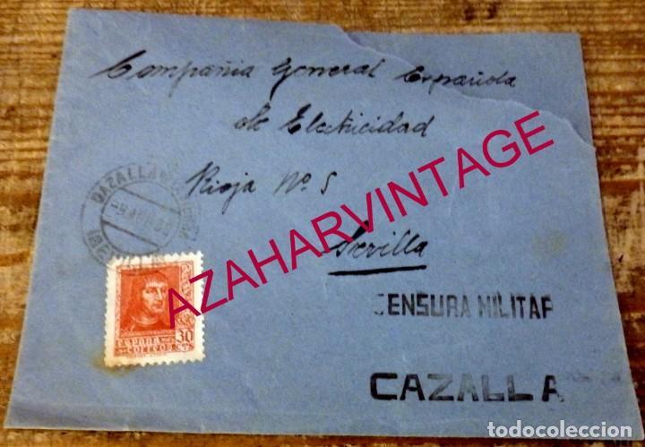 CAZALLA DE LA SIERRA, 1936, SOBRE CIRCULADO A SEVILLA, CENSURA MILITAR (Sellos - España - Guerra Civil - De 1.936 a 1.939 - Cartas)