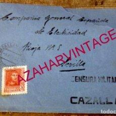 Sellos: CAZALLA DE LA SIERRA, 1936, SOBRE CIRCULADO A SEVILLA, CENSURA MILITAR. Lote 169330500